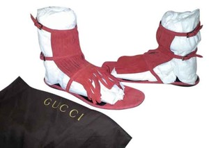 Gucci Heels Gladiator Fringed Red Sandals