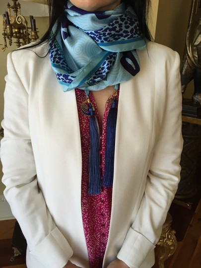 LK Designs Gorgeous blue tones Silk Scarf - Tassels can be removed