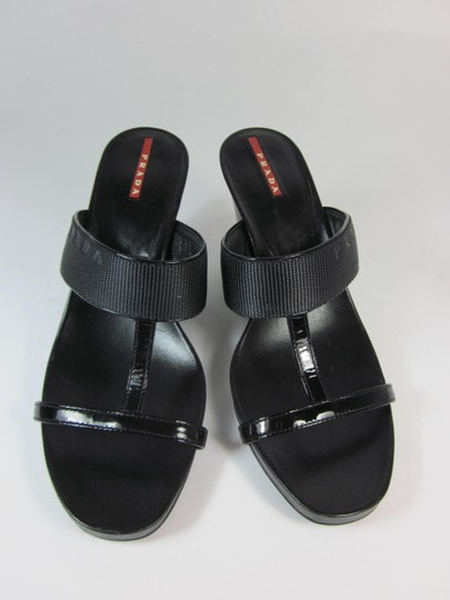 Prada Logo Leather Sandals
