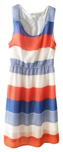 Oxford Circus Fashion short dress Blue, Coral, and White Striped Lightweight on Tradesy