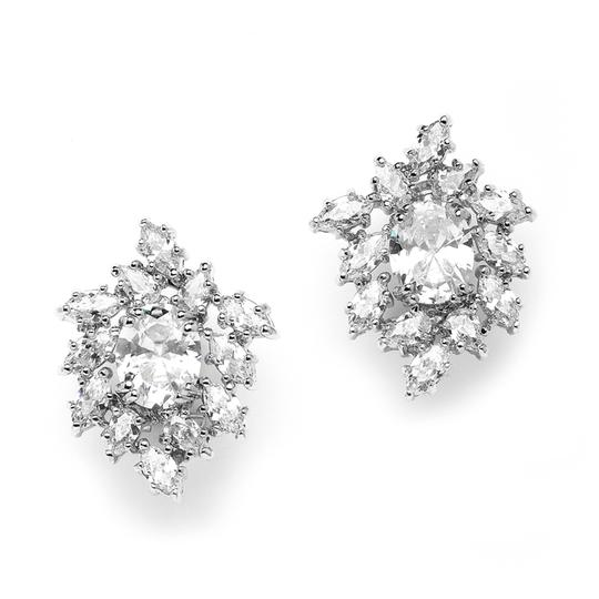 Silver Lavish Cz Oval and Marquis Cluster Earrings