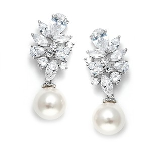 Silver Soft Cream Pearl and Cz Crstal Drop Earrings
