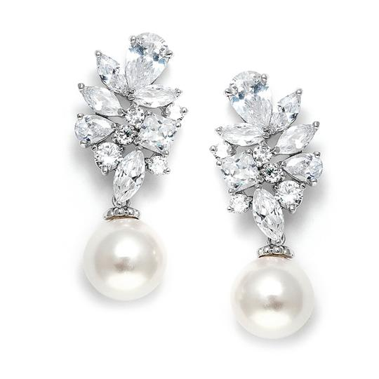 Silver Soft Cream Pearl and Cz Drop Earrings