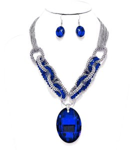 Retro Chic Vintage Blue Oval Crystal Charm Silver Chain Necklace and Earring