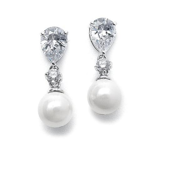 White Classic Pearl and Cz Drop Earrings