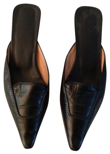 Max Mara Black Leather Mules