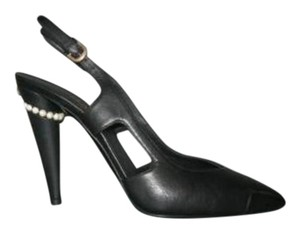 Chanel Leather Pearl Black Pumps