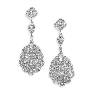 Antique Silver Vintage Bridal Chandelier Earrings With Austrian Crystal