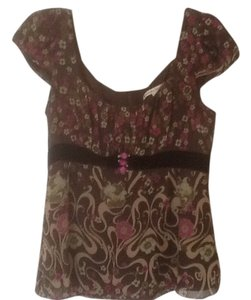 Nanette Lepore Top Brown floral