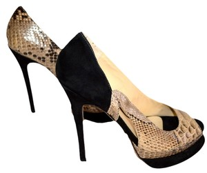 Alexandre Birman beige / black snake Pumps