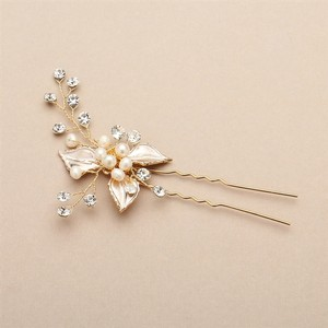 Silvery Gold Pearl and Crystal Golden Pin Hair Accessory