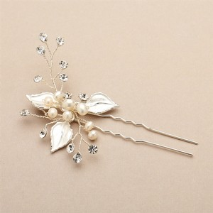 Silvery Gold Pin with Leaves Freshwater Pearl and Crystal Sprays Hair Accessory