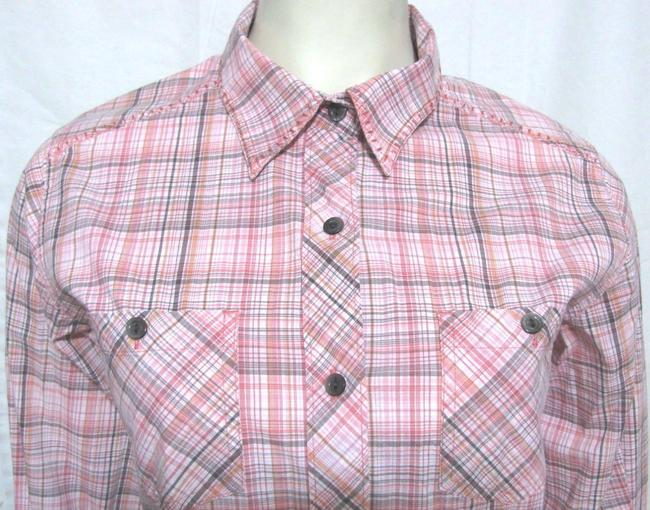 Woolrich Cotton Plaid Checkers 3.4 Sleeve Buttoned Shirt Blouse Women Small Ladies S 6 4 Pocket Chest Country Western Button Down Shirt pink