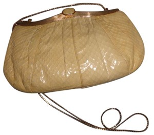 Judith Leiber Gold Hardware Natural Snakeskin Matching Comb Dust 3-way Function Shoulder Bag