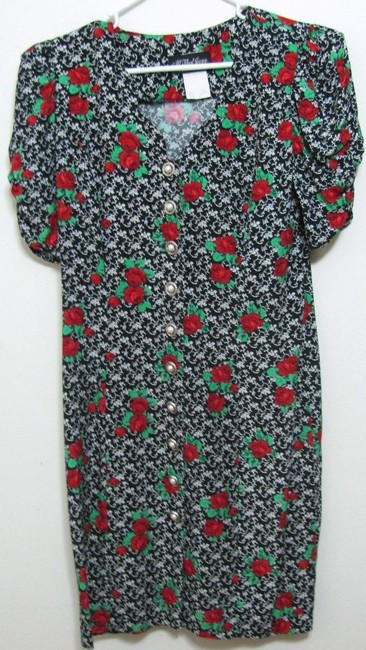 All That Jazz Vintage Buttoned Made In Usa Floral Rose Short Sleeve Women Classic Small S 6 5 Junior Ladies Paisley Leaf Flower Mid Dress