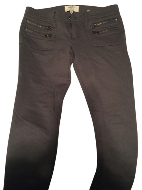 Abercrombie & Fitch Zipper Stretchy Stretch Moto Charcoal Leggings