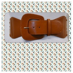 Brand New Carmel Brown Faux Leather Stretch Belt One Size Fits Most
