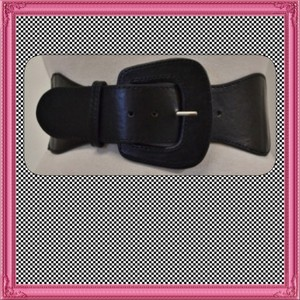 Other Brand New Black Retro Stretch Belt Faux Leather OSFM