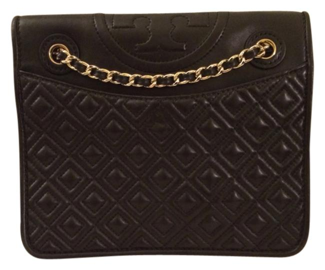 Item - Marion Collection Black and Gold Lambskin Leather Cross Body Bag