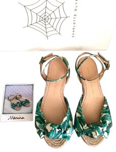 Charlotte Olympia Palm Leaf Green Sandals