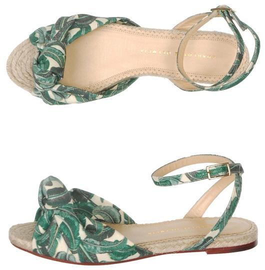 Charlotte Olympia Palm Leaf Espadrille Ankle Strap Canvas Green Sandals