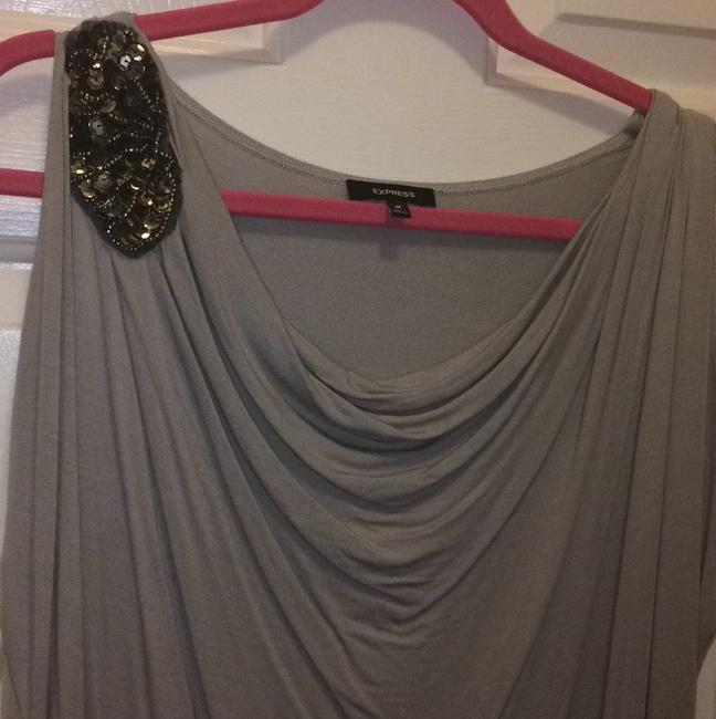 Express Draped Beaded Sequin Flowy Winged Top Grey