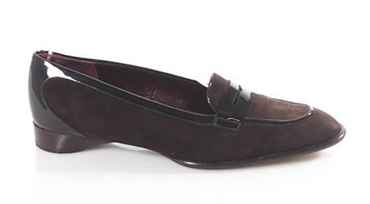 Tod's Brown Suede with Black Patent Leather Trim Flats Image 1