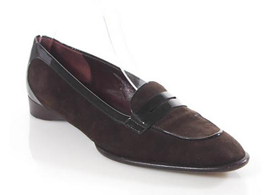 Tod's Brown Suede with Black Patent Leather Trim Flats Image 2