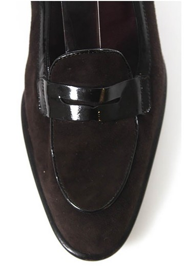 Tod's Brown Suede with Black Patent Leather Trim Flats