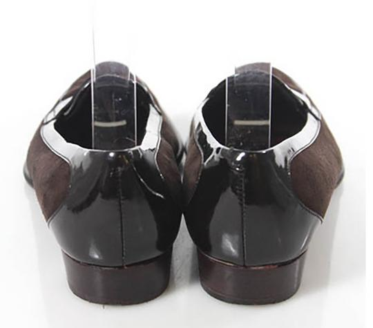 Tod's Brown Suede with Black Patent Leather Trim Flats Image 4