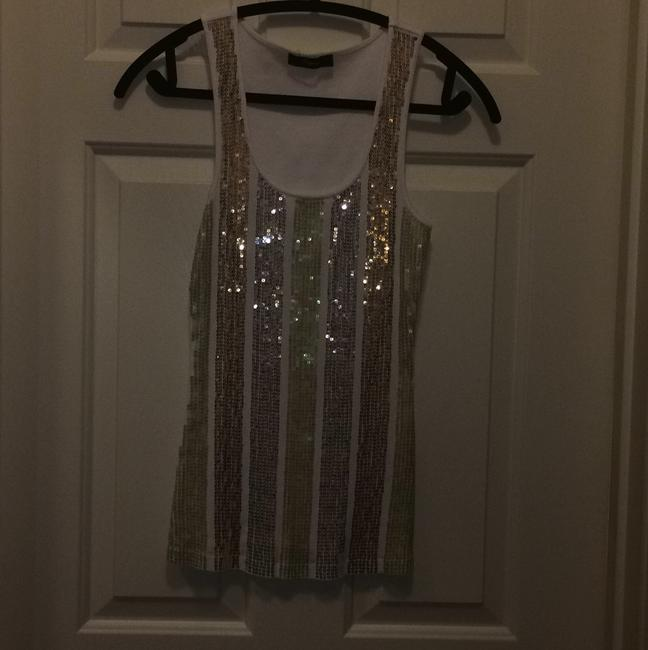 Express Sequins Gold Rose Gold Silver Top White