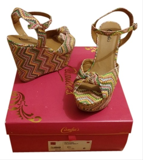 Candie's Calainey Summer Ankle Strap Open Toe Date Night Night Out Spring Multi Platforms