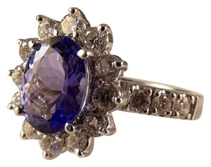 Modern Vintage Appraised @ 11,500 Tanzanite Diamond 14K white Gold Ring
