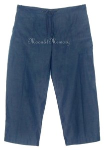 Garnet Hill Crops Chambray Capris Blue