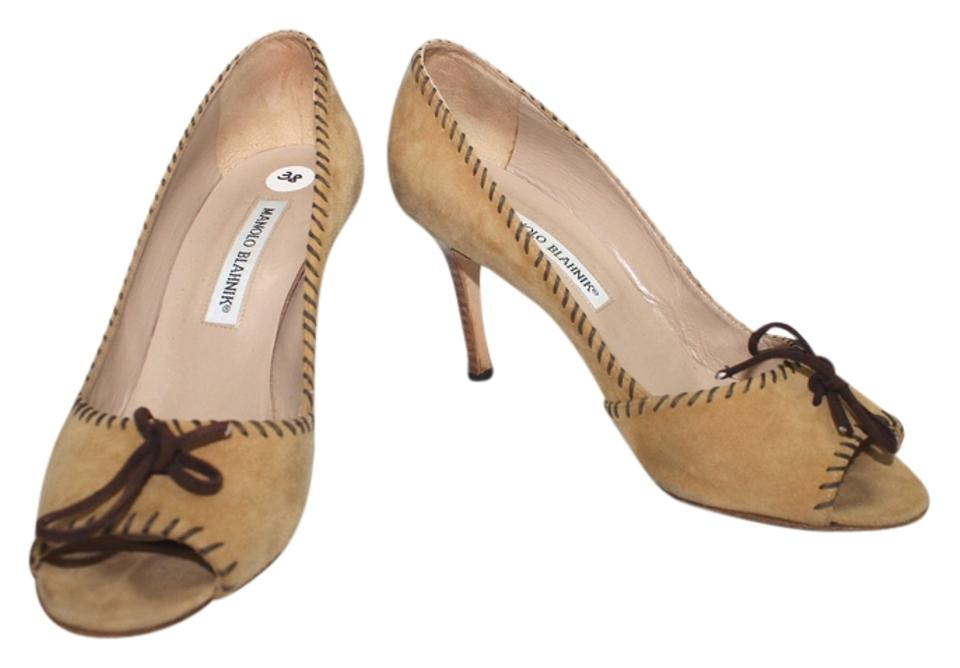 b95c4a62062 Manolo Blahnik Sand Stitched Trim Open Toe Suede Leather Heels 38 ...