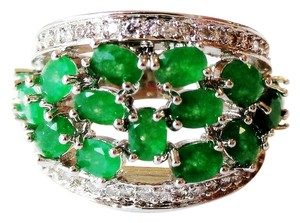 Other Natural Columbian Green Emerald and White Sapphire Sterling Silver 14k Ring US SZ 7