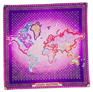 Louis Vuitton Purple multicolored Louis Vuitton silk LV maps monogram scarf