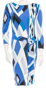 Emilio Pucci White Multicolor Longsleeve Dress