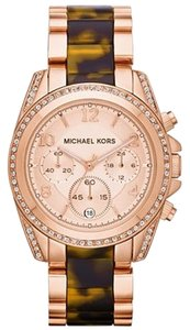 Michael Kors Michael Kors Women's Chronograph Blair Tortoise and Rose Gold-Tone Stainless Steel Bracelet Watch 39mm MK5859