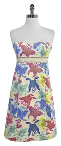 Tibi short dress Print Cotton Strapless on Tradesy