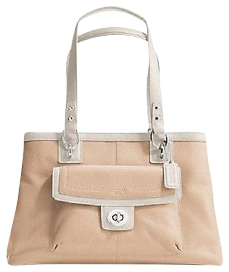 Coach New With Tags Penelope Satchel in putty and white