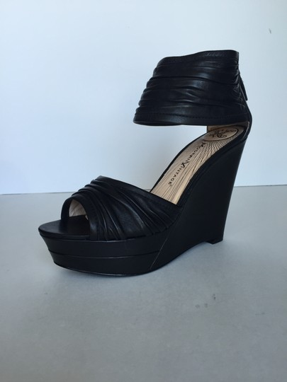 Modern Vintage Leather Wedge Platform Pump Pre Owned Consign Consignment Designer Luxury Ankle Strap Black Sandals