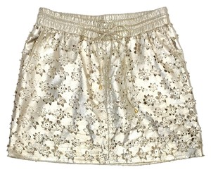 Leifsdottir Gold Floral Leather Skirt