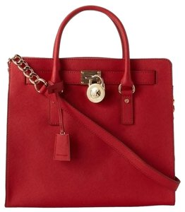 Michael Kors Saffiano Leather Tote in True Red