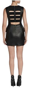 BCBGeneration Vegan Leather Peplum Cageback Cutout Mini Mini Short Leather Leatherette Dress