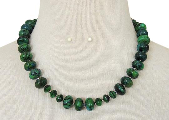 Other Teal Green Handmade Picture Jasper beaded Necklace