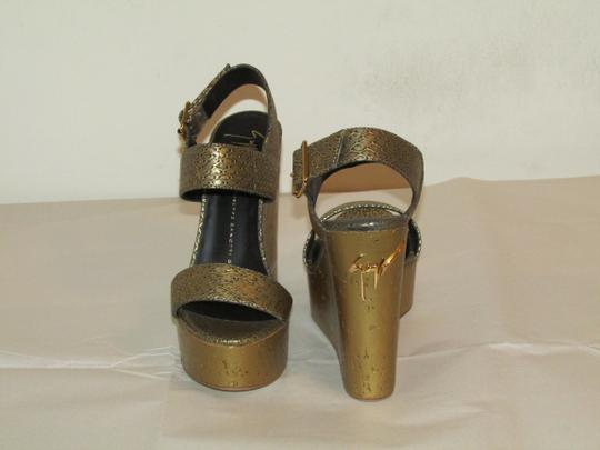 Giuseppe Zanotti Brand New In Box bronze gold Wedges