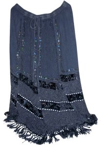 Magic Boho Style Gothic Maxi Skirt Black, Gray, Silver