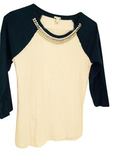 J.Crew Off White and Blue Embellished 3 4 Length Sleeve Baseball Tee ... 6eda9977a