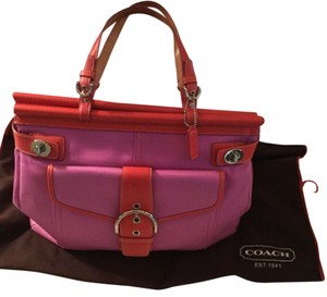 Coach Pink Leather Satchel in Pink/ Red